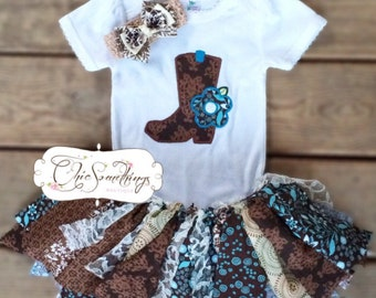 Fabric Tutu, cowgirl birthday tutu, Cowgirl Barn, Shabby Chic boot tutu, Baby Tutu, cowgirl birthday tutu, boot shirt, cowgirl boots 020