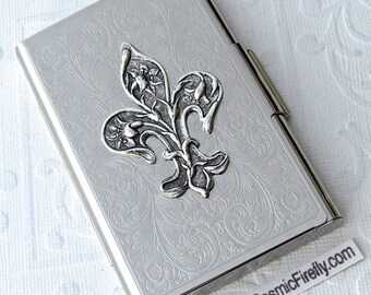 Silver lion head business card case silver plated metal slim fleur de lis business card case gothic victorian steampunk card case silver plated metal card case colourmoves Choice Image