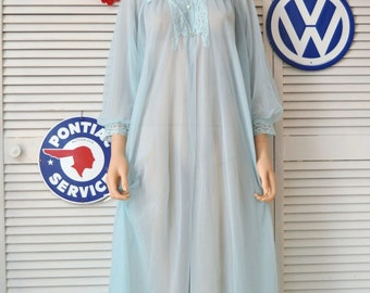 Sheer Womens Vintage Robe Arctic Blue & Poofy Sleeves Lace Trimmed Medium Flowing Full Length Texsheen MW Nylon Theater Costume Lingerie 60s