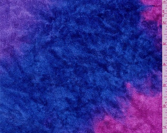 Magenta/Blue Stretch Velour, Fabric By The Yard