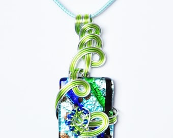 Pendant, glass Murano, aluminum wire and seed beads. LBC30092016