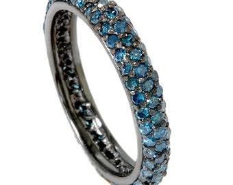 Blue Diamond Eternity Ring, Blue Diamond Ring, Stackable Blue Diamond Pave Eternity 1.10CT Wedding Ring 14K Black Gold Womens Anniversary