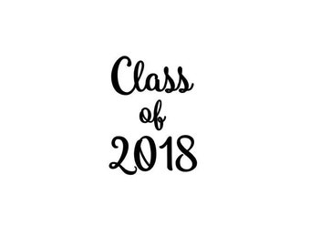 Class of 2018 (or any year!) Matte & Glitter Heat Transfer Iron On Vinyl Decal - Kindergarten Junior High School College Graduation - Violet