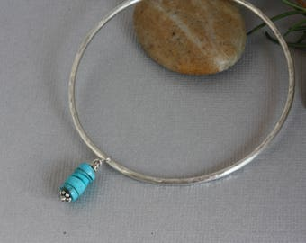Simple Sterling Silver Bangle Bracelet, Sterling and Turquoise Textured Bangle, Silver Stacking Bracelet, Turquoise Bracelet,Handmade Bangle