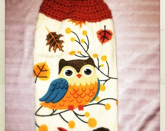 Crotchet Hanging Kitchen Orange Owls Hand Towel