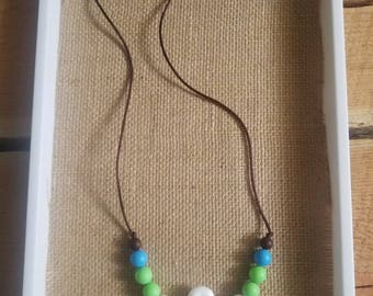 Flower Chewelry Pendant with Blue and Green Accents