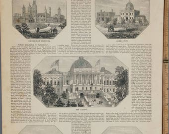 Public Buildings at Washington, D.C.: The Capitol, Smithsonian,Observatory,War Department,Arsenal 1854. Large Antique Engraving, About 11x15