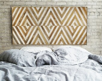 Wood Wall Art | Reclaimed Wood Wall Art | Queen Headboard | Wood Headboard | Geometric Wood Art | Large Art | Wood Wall Decor | Wood Decor