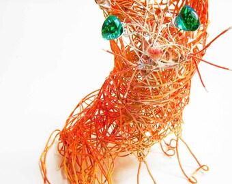 Made to Order Cat Ornament, Unique Cat Collectible, Cat Wire Art, Commission Pet Artist, Etsy Pet Portrait Decor, Trending Meow, Cute Cat