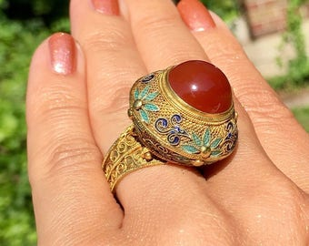 14K Yellow Gold Cloisonne Enamel Filigree Flower Carnelian Dome Vintage Ring