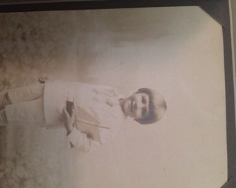 Victorian Cabinet Card, Vintage photo of young boy holding a sail boat toy