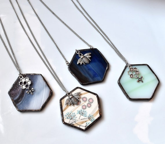 Broken China Jewelry Hexagon Necklace - RESERVED