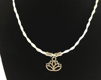 Lotus blossom white braided leather necklace