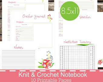 Knitting Crochet Planner Notebook Journal Printables PDF, knitting journal, knitting notebook, crochet journal - Floral Theme