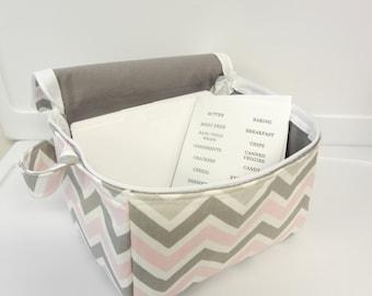 Super Large 6 inch Depth Fabric Coupon Organizer with  ZIPPER CLOSER  - Bella Chevron Pick your Size