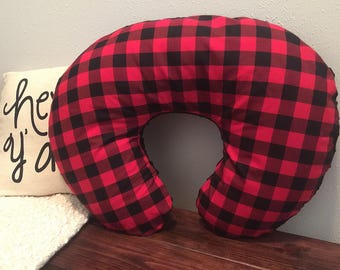 Red Buffalo Plaid Boppy Cover- You Pick Minky Color