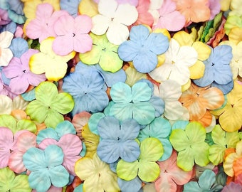 50 Mixed Pastel Hydrangea Flowers mulberry paper for Craft & D.I.Y