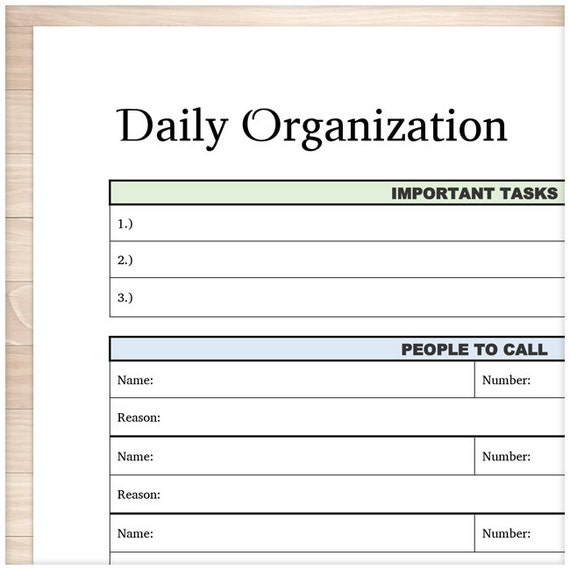 Printable Daily Task Sheet   Full Page Organizer   Clean And Simple  Organization   Task Category Sheet   Instant Download  Daily Task Sheet