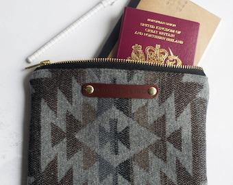 clutch bag, aztec bag, handbag organiser, aztec clutch, wool bag, zippered purse, passport holder, cosmetic bag