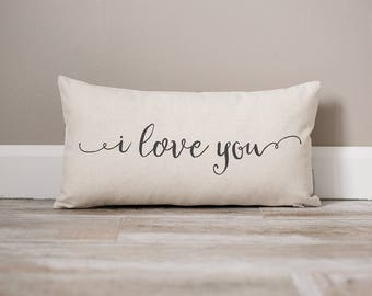 I Love You Pillow | Monogrammed Gift | Gifts For Her | Valentines Day Gift | Valentines Day Gift For Husband | Valentines Decor | Wife Gift