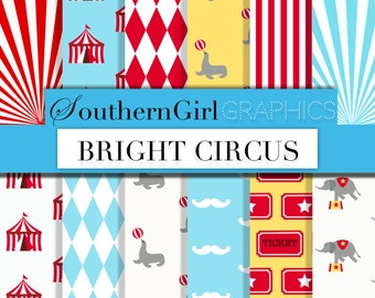 """Bright circus digital paper: """"BRIGHT CIRCUS"""" carnival patterns with elephants, seals, diamonds, circus tents, mustaches in blue, red, yellow"""