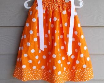 Orange and White Dot Pillowcase Dress - 18-24 mth, toddler sundress, toddler beach dress, toddler dress,