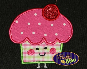 Kawaii Cherry Topped Cupcake Applique Embroidery Designs