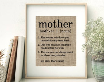 Definition of Mother | Personalized Mother's Day Gift From Children | Unique Birthday Christmas Gift Ideas for Mom Mommy Mama Momma