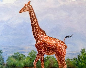 Giraffe painting - giraffe print - giraffe art - wildlife painting - Nursury art - Open edition print