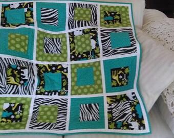 Baby Quilt, Toddler Quilt, Jungle Quilt, Modern Baby Quilt