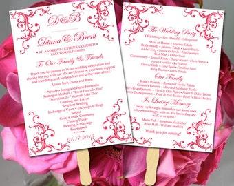 "DIY Wedding Program Fan Template - Printable Wedding Program ""Diana"" Lipstick Pink - Order of Ceremony Instant Download Printable Wedding"