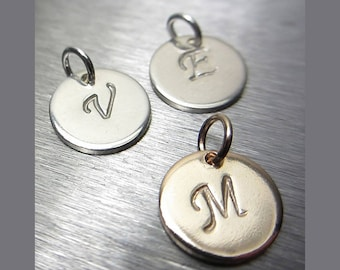 925 Sterling Silver OR 14K Gold Filled Small Monogram Disc Hand Stamped Tag Personalized Disc Personalized Pendant Initial Charm Custom Gift