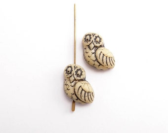 Cream Owl Czech Glass Beads, (4 pcs) 17x15mm Owl Beads, Cream Owl Beads, Glass Owl Beads, Bird Beads, Animal Beads ANM0059