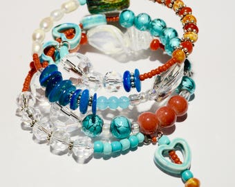 chunky,beaded bracelet, jewelry,jewellery,turquoise,wedding gift,bridesmaid gift,bohemian,gift for women,women,boho,gift for her,gift