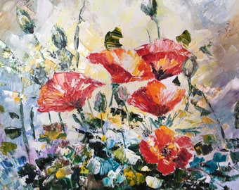 Oil Painting, Poppies Painting, Canvas Art, Oil Painting Original, Red Poppies, Palette Knife Painting
