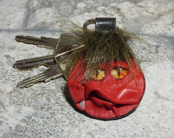 Hand Made Leather Key Chain Ring Fob With Face Eye Key Purse Charm Monster 334