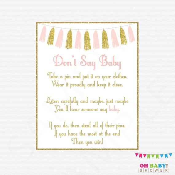 Pink And Gold Baby Shower Games Donu0027t Say Baby Printable