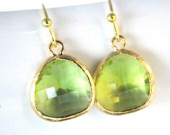 Green Earrings, Peridot Earrings, Apple Green, Gold Earrings, Soft Green, Bridesmaid Earrings, Bridal Earrings Jewelry, Bridesmaid Gifts