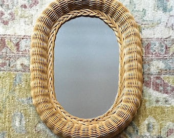Mirror Wall Mirror Oval Mirror Vintage Mirror Brown Wicker Mirror Hanging Mirror Bathroom Mirror Small Mirror Vanity Mirror Country Decor
