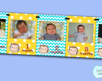 Curious George First Year Photo Banner / 12 Month Picture Banner - Curious George First Birthday - Print-Your-Own FILE to PRINT DIY