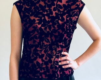 Maria Shell Top in Burnout Silk Velvet - Sustainable slow fashion