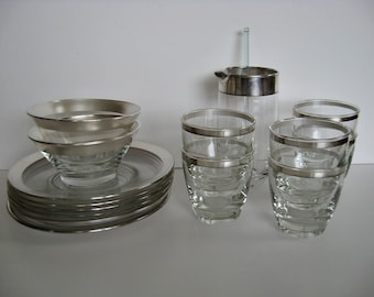 Cocktail Set / Glasses / Plates / Pitcher  --  Thorpe Style / Mad Men Style Silver Band