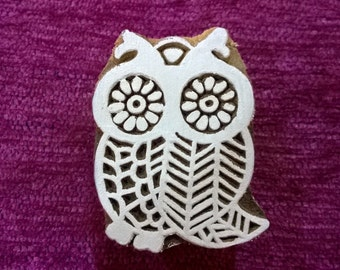 hand carved wood printing block Textile Stamp Pottery stamp hand carved wood printing block, fabric stamps -  owl