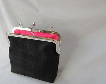 Black (Dark Shadow on Dark Island) Wool Tartan Evening Bag with Pink Cotton Lining Made in Scotland