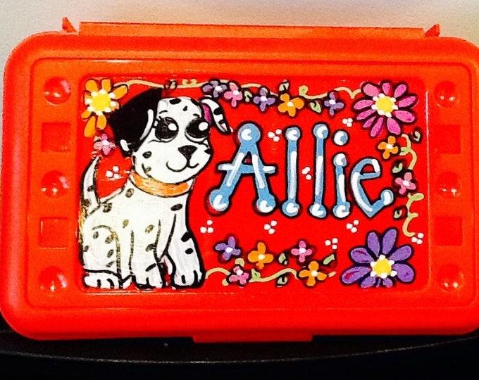 Puppy art box, Puppy pencil box, girl pencil box, school supply box, girls art box, school art box, back to school art box, name art box,