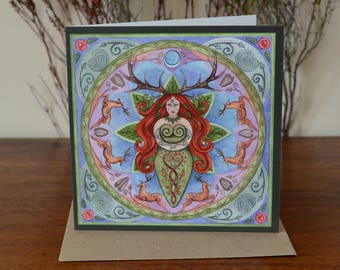 GREETINGS CARD Elen of the Ways Mandala - Fantasy Art Painting Pagan Birthday - with envelope