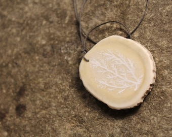 Sargiq Wish in white - Alaska Native hand painted moose antler pendant