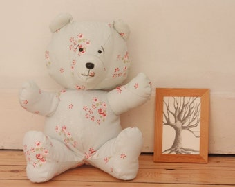 SWEETY Bear - Handmade Plush  - Blue cotton and bouquets of roses