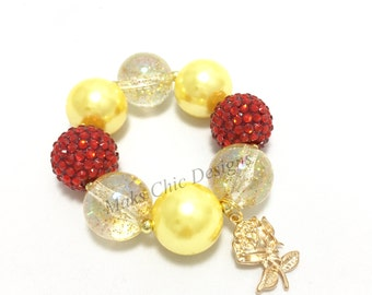 Toddler or Girls Beauty Rose Charm Chunky Bracelet - Yellow, Red and Gold Bracelet - Princess Yellow Chunky Bracelet - Rose Chunky Bracelet