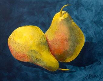 Pair of Pears Painting,Still Life Art, Kitchen Decor, Pear Still Life, Pear Art